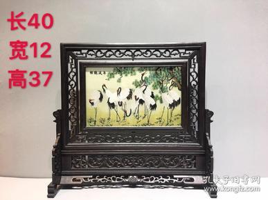 鸡翅木插屏,松鹤延年,美观大气,寓意好,纯手工雕刻,雕工细腻,用料大气