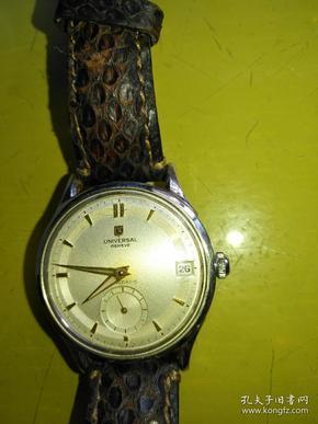 早期宇宙手表,瑞士造,世界顶级腕表,金指针,正常工作,即买即用,原装蛇皮表带