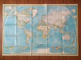 【旧地图】世界地图  大2开 1981年美国国家地理版一面政区 一面地形
