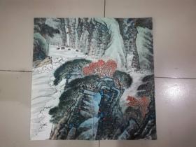 [3449  江苏画家郭正国山水画一幅,斗方