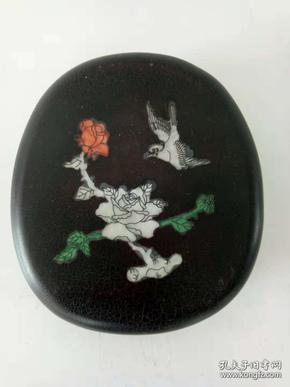 精美砚台·端砚·古字砚台·贝壳镶嵌雕花砚台·文房用品摆件·重量1604克