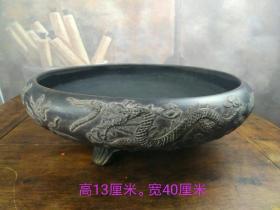 紫砂水仙盆,龙凤呈祥,包浆浓厚,保存完整,直径40cm,高13cm