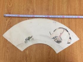 清代日本手绘《捉水兽、蜻蜓图》扇面一幅,两面彩绘,【嘉乐】落款印章