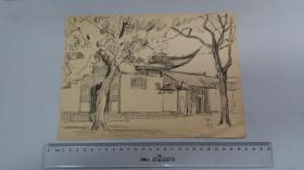 1982年著名建筑师左玉琅速写作品《西园》《西园前殿》《西园古树》《寒山寺古柏》4幅