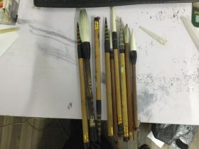 八十年代各种毛笔9只 五只湘妃竹的