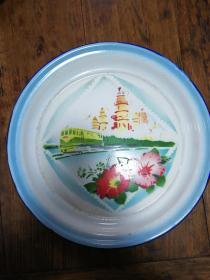 1搪瓷盘:建设四个现代化(文革)