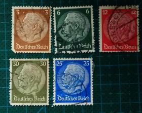 德国邮票-----二战时期总统兴登堡(信销票)