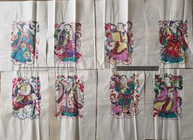 稀见精品!!!原版80年代印潍县杨家埠木版年画社出品*八仙人物一套八张全*每张39*26cm