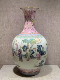 慎德堂制款粉彩人物瓶,高29.5,全品完整
