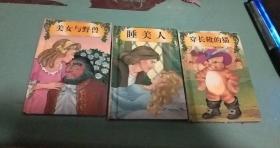 童话城堡迷你宝藏:彩色精装(美女与野兽、穿长靴的猫、睡美人、)3册合售
