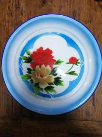 10搪瓷盘:牡丹花