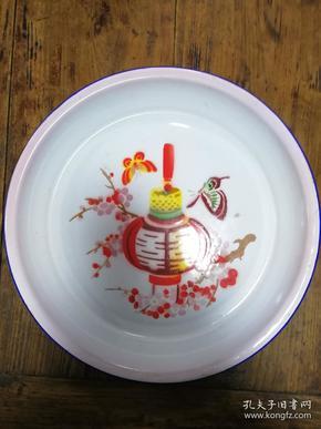 11搪瓷盘:红梅报喜