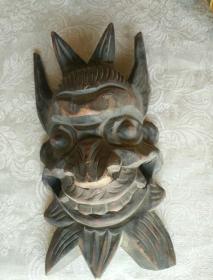 《清代 镂空木雕萨满面具》高33厘米,宽17厘米!雕刻粗旷有力!包浆自然陈旧!