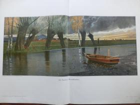 【现货 包邮】1890年巨幅彩色平版印刷画《宁静的傍晚》( Abendfrieden ) 尺寸约56*41厘米 尺寸约56*41厘米 (货号601108)
