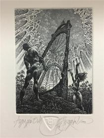 保加利亚乔丹诺夫(Julian Jordanov)藏书票版画原作《亚当夏娃》尺寸看图