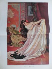 【现货 包邮】1890年巨幅彩色平版印刷画《场景》浴女与调皮的猫( Atelierszene )  尺寸约56*41厘米 尺寸约56*41厘米 (货号601110)