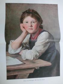 【现货 包邮】1890年巨幅彩色平版印刷画《一个孩子》( Ein Kind der Berge ) 尺寸约56*41厘米 尺寸约56*41厘米 (货号601111)