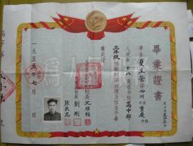 """毕业证书:上海私立南洋模范中学,校长沈维桢(沈同一,崇明县排衙镇人),副校长刘刚、张启昆;学生夏生荣(重庆人)——校史:简称南模,创建于1901年,是中国人自己创办的最早的新式学堂之一。其前身是南洋公学(今上海交通大学、西安交通大学)附属小学,为中国""""公立小学之始""""。1927年前附属于大学。1927年改为私立南洋模范中小学。1950年毛泽东主席应高一学生的请求为学生壁报题名""""青锋""""。56年改公立"""
