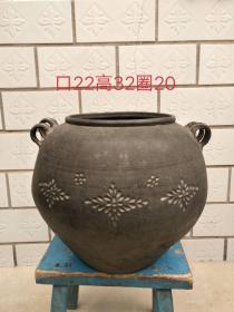 黑陶卷筒,素雅韵净,全品无磕碰,口径22cm,高32cm