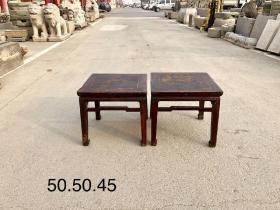 清代楸木方凳一对 全品无松动 皮克老辣 年代感十足 尺寸50.50.45cm