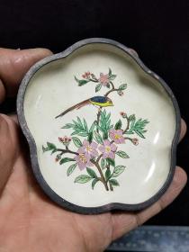 纯铜景泰蓝,手绘花鸟图,乾隆年制字样款,珐琅彩铜碟,搪瓷小盘子。详细看图