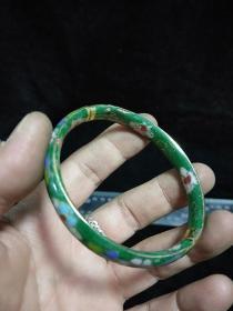 纯铜景泰蓝手镯(绿色)有破损,介意慎拍。详细看图