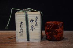 日本回流 日本古董器物 日本茶道具 昭和时期 老髹漆茶枣 整木挖制 带原箱桐木盒 釉面匀净滋润 非常精致