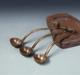 手工铜如意水勺 水盂铜勺磨墨舀水铜勺