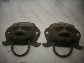 民国时期-从老门上拆下-黄铜【虎头】门环一对,厚实!长15厘米,宽11厘米.
