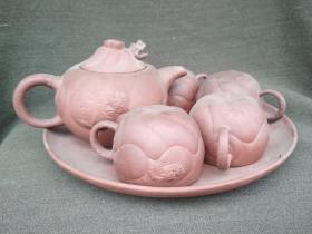 开门老的鱼化龙紫砂茶具一套