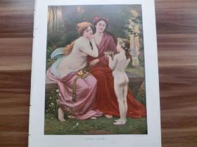 【现货 包邮】1890年彩色平版印刷画《鸟巢和幼鸟》(Das Nest ) 尺寸约41*29厘米  (货号601114)