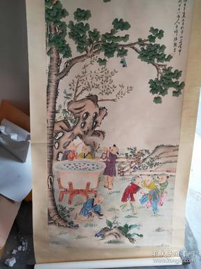 4尺卷轴,低价出,童趣图,拿回去直接可以挂,卷轴装裱山水