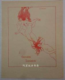 英国早期线刻版藏书票三裸女插画名家John Austen作
