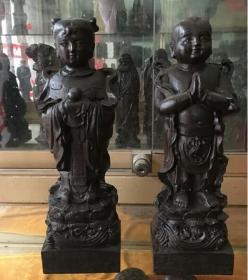 新品越南天然沉香木木雕家居摆件金童玉女木质木头工艺品礼品