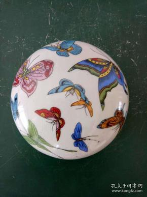 瓷印泥盒·墨盒·蝴蝶图案开片印盒·文房用品·摆件