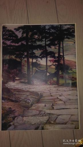 民国老画页一张;无题/26.5x19cm【彩色】年代不详