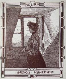 """奥地利艺术家""""Margaret Driesch """"木刻仕女藏书票——《窗前的仕女》 1903"""
