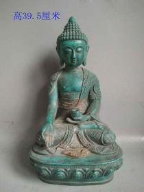 少见战汉时期老绿松石佛像大摆件