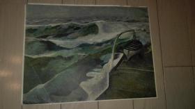 老油画页一张;海边/28.5x21.5cm。年代不详