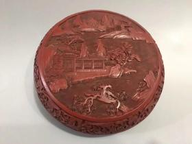 Old lacquer ware jewellery box with the name of the craftsman engraved on the bottom, exquisite carving, 17 cm in diameter and 8 cm in height