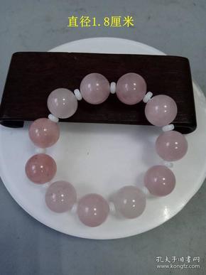清代传世少见的天然粉红老玛瑙佛珠手串