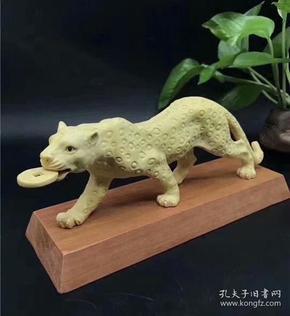 黄杨木实木雕刻金钱豹摆件动物工艺品 摆件创意礼品