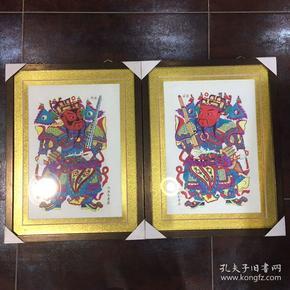 木板水印门神版画2幅,已装裱带框,版画原画,不是印刷品