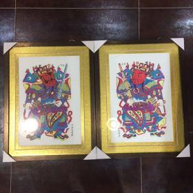 木板水印门神版画2幅,赌博网:已装裱带框,版画原画,不是印刷品