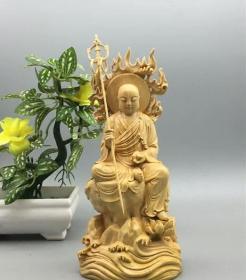 小叶黄杨木精雕地藏王菩萨工艺品佛像佛堂家居摆件佛教风水礼品