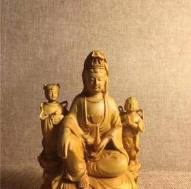 小叶黄杨木雕实木雕刻善财龙女童男童女净瓶观音菩萨摆件工艺品