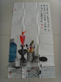 童兆炉:书画:滴滴红烛泪(为教师节而作书画作品)