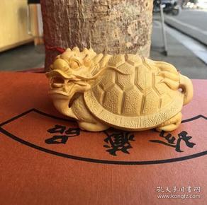小叶黄杨木雕刻文玩手把件 茶宠聚财龙龟木雕工艺品摆件招财辟邪