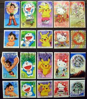 日邮··日本邮票信销·樱花目录编号 C2090+C2100  2011世界邮展卡通邮票,皮卡丘、机器猫、凯蒂猫、阿童木等两套 20枚全
