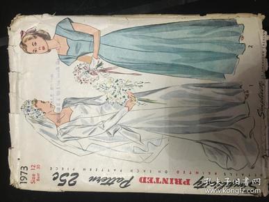1947年服装裁剪《Simplicity Primer》婚纱礼服样书,纸袋装图纸。1973-25C,复古裁剪,原貌再现